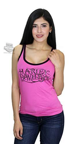 Harley-Davidson Womens H-D Inset Raw Edge Foil Print Pink Sleeveless Tank (2X)