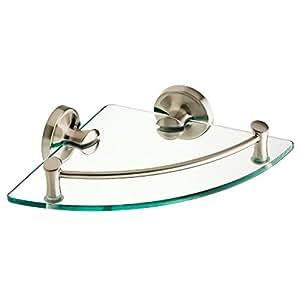 EXTEN16-BN Bath Corner Glass Shelf Brushed Nickel Finish
