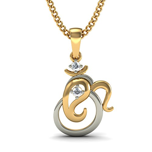 Or jaune 14 K 0,06 CT TW Round-cut-diamond (IJ | SI) Pendentif