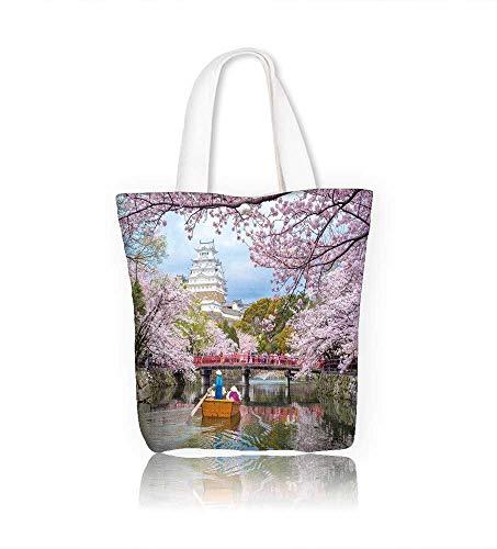 (Women's Canvas Tote Handbags himeji castle with beautiful cherry blossom in spring season Casual Top Handle Bag Crossbody Shoulder Bag Purse W15xH14xD4.7 INCH)