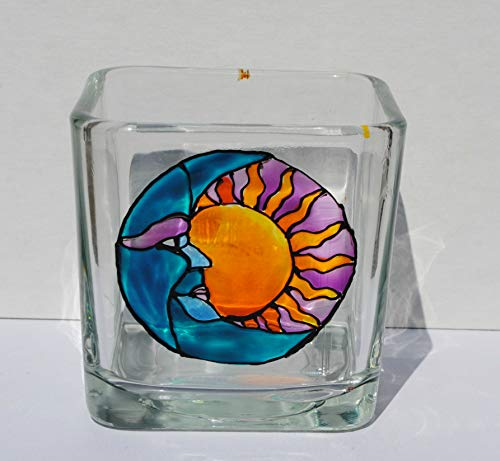 Sun and Moon Celestial Stained Glass Hand Painted Square Candle Holder