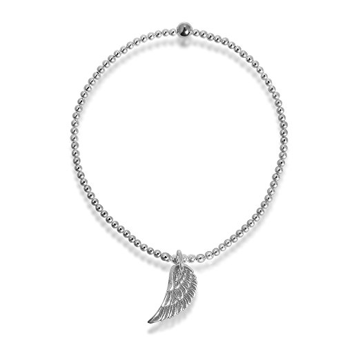 Angel Wing of Protection Elastic Sterling Silver Beads Stretch Bracelet by AeraVida