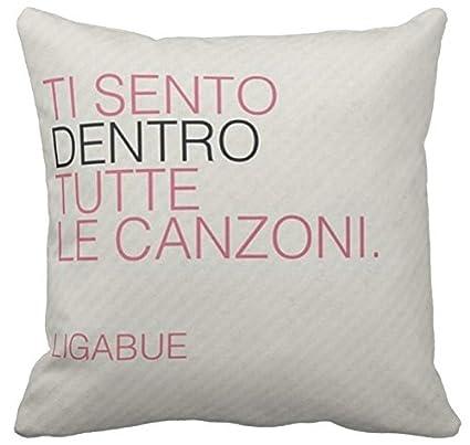 Cojin 40 X 40 Personalizado Frase Canzone Luciano Ligabue Ti Sento