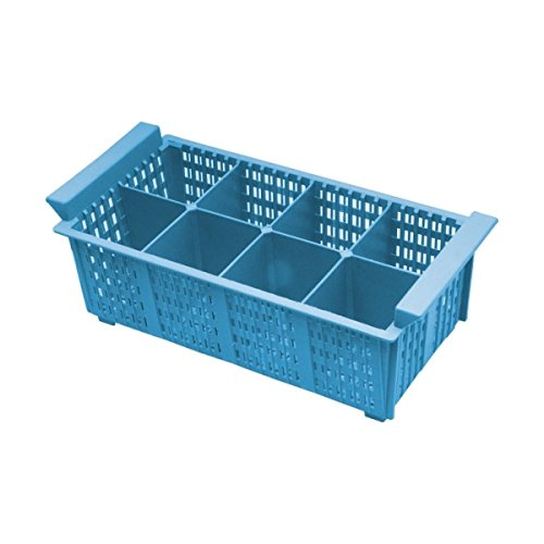 Genware nev-cb8 Panier à couverts, 8 compartiments, 430 mm x 210 mm x 155 mm, bleu (Lot de 8) 8 compartiments 430 mm x 210 mm x 155 mm