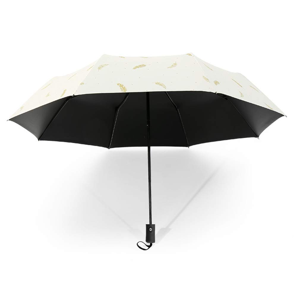 Drehome Sun Rain Umbrella UV Protection Compact, Automatic Foding Travel Umbrella Portable Windproof Rainproof Parasol Sun Umbrella for Walking Black Anti-UV Coating White