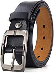 BISON DENIM Mens Leather Belt Genuine Leather Buckle Belt Cool Belt for Dress&J