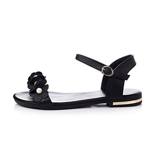 Amoonyfashion Donna In Pelle Di Mucca Senza Tacco Open Toe Sandali Flat-sandali Neri