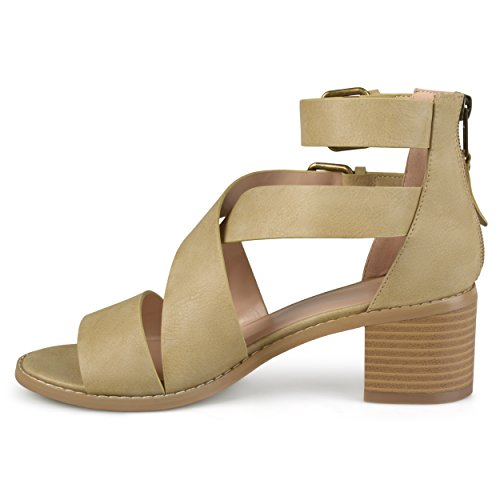 Brinley Co. Womens Stacked Wood Heel Faux Leather Double Ankle Strap Sandals Taupe O1zpxUQLn