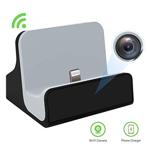 Hidden Camera Charger Dock for iPhone WiFi Live View Spy Cam with Motion Detection for Home ()