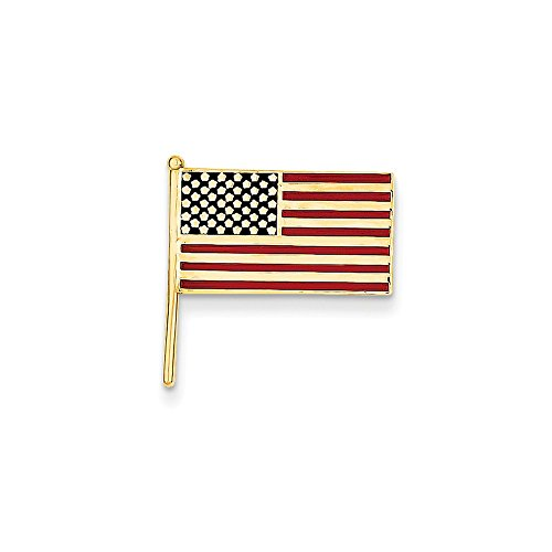 White Gold Yellow Tie Pin (14k Yellow Gold Enameled United States Flag Tie Tac)