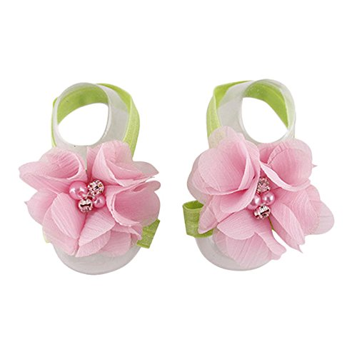 Elevin(TM) Baby Girls Flowers Barefoot Sandals Pop Foot Handmade (Pink1)