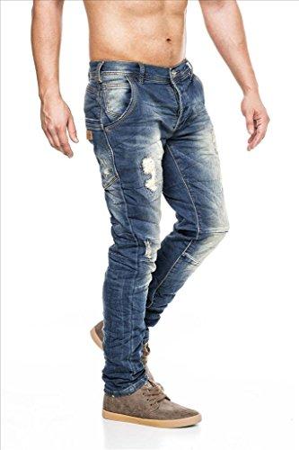 MEGASTYL Herren Hose Stone-Washed Vintage Jeans Blau Slim-Fit 5-Pocket Jogg-Denim