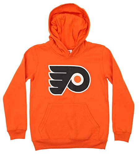 Outerstuff NHL Youth Boy's (8-20) Primary Logo Team Color Fleece Hoodie, Philadelphia Flyers Small(8) (Hockey Logo Hoodie Sweatshirt)