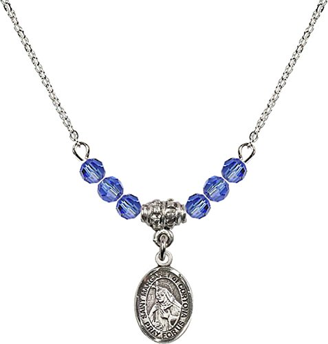 (September Birth Month Bead Necklace with Saint Margaret of Cortona Petite Charm, 18 Inch)