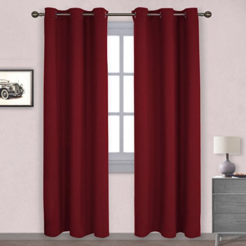 NICETOWN Home Decorations Thermal Insulated Solid Grommet Top Blackout Living Room Curtains / Drapes for Winter (One Pair,42 x 84-Inch,Red)