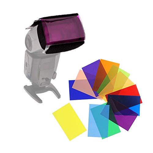 CamDesign 12x Color Flash Card Diffuser Lighting Gel Pop Up Filter for Speedlite New HS1 Canon 580EX II 430EX II 600EX 270EX II/Nikon SB900/800/700/600/910/Yongnuo YN568EX/565EX/500EX/560/468/460/685