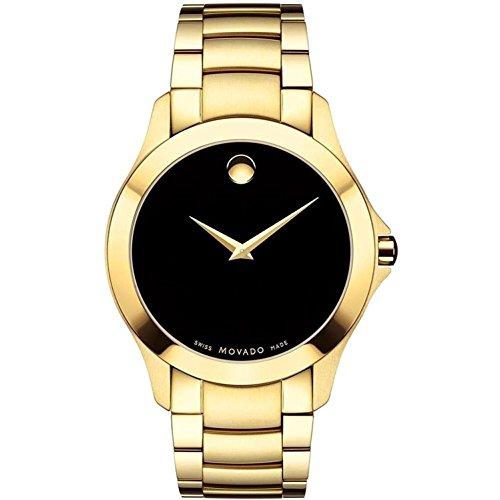 - Movado Men's Masino 40mm Gold Plated Bracelet & Case Sapphire Crystal Quartz Black Dial Watch 0607034
