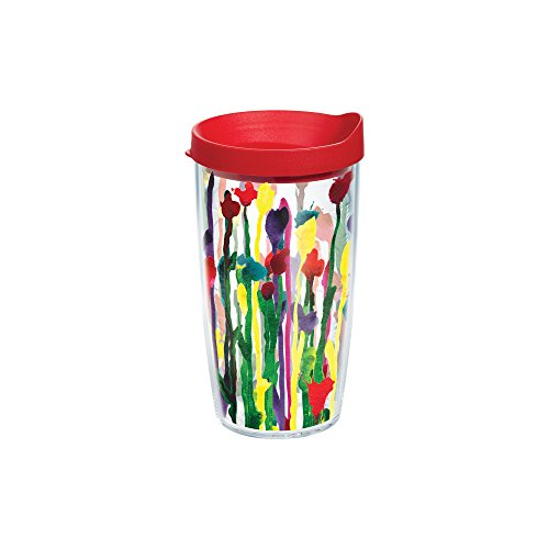 Tervis Skinny Flower Wrap Tumbler with Red Lid, 16-Ounce (Skinny Flower)