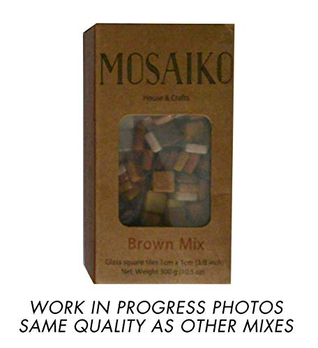 MOSAIKO Brown Mix 300g (10.5oz) - Mosaic Glass Tiles for Crafts - Premium Quality Stained Square Pieces 1cm x 1cm (3/8 inch) - Perfect for Home Decor, DIY Crafts, Pixel Art, Kid Play, Adult Hobbies