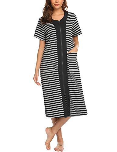 (Ekouaer Women's Long Sleepwear Shirt Patchwork Short Sleeve Loungewear with Pockets S-XXL Black )