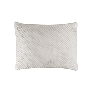Snuggle-Pedic Standard Size Bamboo Shredded Memory Foam Pillow with Kool-Flow Micro-Vented Covering - Standard Size