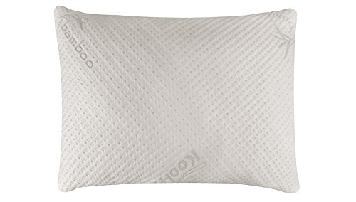 Snuggle-Pedic Ultra-Luxury Bamboo Shredded Memory Foam Pillow Combination With Kool-Flow Micro-Vented Covering - - Down White Pillow Bed Std