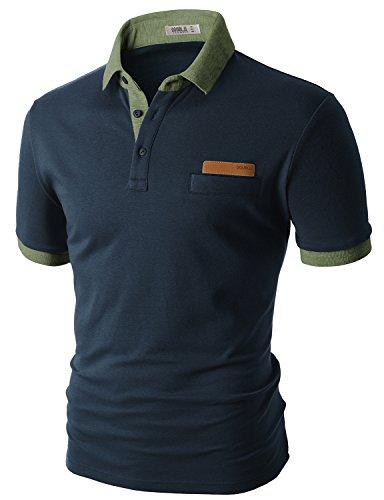 Doublju Men Casual Skinny Fit short sleeves Polo T-Shirt NAVYKHAKI,2XL