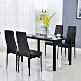 Bonnlo Modern 5 Pieces Dining Table Set Glass Top Dining Table and Chairs Set for 4 Person,Black