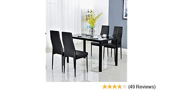 Bonnlo Modern 5 Pieces Dining Table Set Glass Top Dining Table And Chairs Set For 4 Personblack