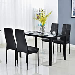 modern black dining room sets | Amazon.com - Modern 5 Pieces Dining Table Set Glass Top ...
