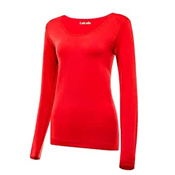 Bulouin Women's Ultra Warm Soft Lightweight Thermal Underwear Shirt Long Sleeve Coldpruf Compression Baselayer Top(Blood Red,S-M) …