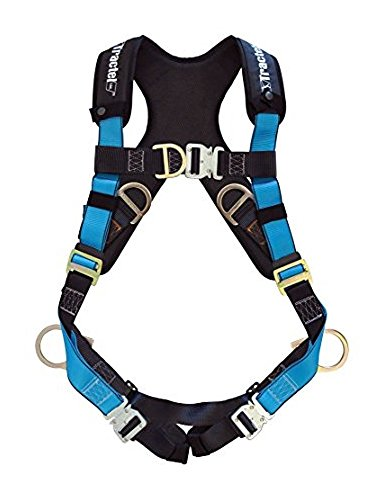 Tractel AT7112/XT Harness with Automatic Buckles, TracX Pad, Side-Positioning, Sternal, Fixed Chest Strap, Dorsal D-Ring and Frontal Attachment, One Size Fits Most, Blue/Black