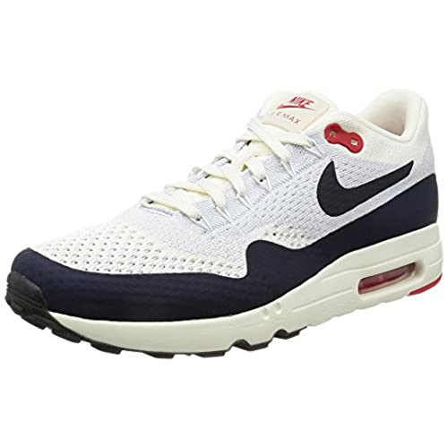 595d1826dc Nike Men's Air Max 1 Ultra 2.0 Flyknit, SAIL/OBSIDIAN-WOLF GREY-UNIVERSITY  RED hot sale