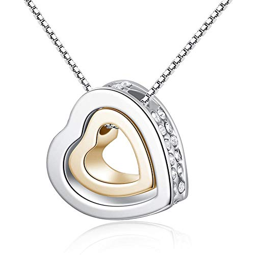 Snowfoller Love Heart Shape Silver Necklace Birthday Gifts Crystal Rhinestone Decor Double Heart Pendant Chain For Women Girls