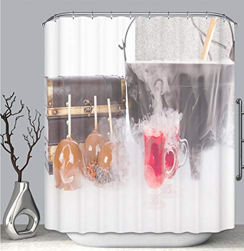 BEICICI Color Shower Curtain Liner Anti-Mildew Antibacterial, Boiling and Bubbling Halloween Punch with Caramel Apples Multi-Color,Custom Shower Curtain Bathtub Bathroom Accessories.