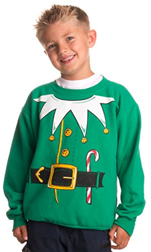 Kid's Santa's Elf Costume | Novelty Christmas Sweater, Holiday Child Sweatshirt - (YCrew,L) Green