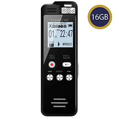 16GB Voice Recorder TOOBOM 1536kbps Digital Voice Activated Recorder with Playback - 2020 Upgraded Sound Audio Recorder Line in for Lectures,Meetings,Interviews,Password,Supports128GB TF Card