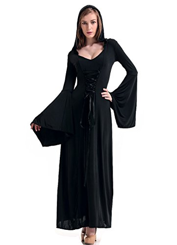 [GoLoveY Women's Deluxe Hooded Robe Costume Adult Halloween Long Dress 3 Colors (Black)] (Womens Deluxe Hooded Robe Costumes)