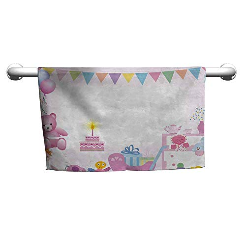 duommhome Kids Birthday Beach Activity Bath Towel Baby Girl Birthday Celebration Party with Flags and Bears Cute Toys Print W10 x L39 Light - California Tub Brass