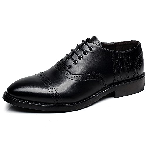 rismart Mens Fashion Pointed-Toe Dress Leather Shoes Classic Business Oxfords Black SN16898 US12 bSZ7j