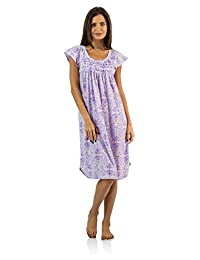Casual Nights Women's Smocked Lace Short Sleeve Nightgown