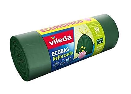Vileda Ecobag Reforzada Maxi Rollo Bolsa de Basura, 30 Unidades, Verde, 7.5x7.5x23.5 cm