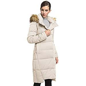 Orolay Women's Vintage Puffer Down Jacket Hooded Coat&Removable Faux Fur Trimed Hooded Beige XL