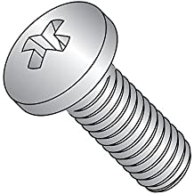 """410 Stainless Steel Pan Head Machine Screw, Meets ASME B18.6.3, #2 Phillips Drive, #10-24 Thread Size, 1/2"""" Length, Fully Threaded, Import (Pack of 25)"""
