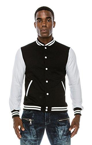 Angel Cola Men's Cotton Varsity Jacket N3650 Black/White L