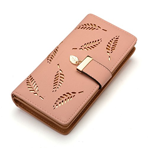 Women's Long Leaf Bifold Wallet Leather Card Holder Purse Clutch Wallet by vodiu