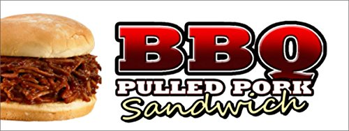 BBQ PULLED PORK SANDWICH VINYL BANNER SIGN barbque bbq slow cooked southern Texas (2FT X 5FT) ()