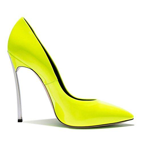 Damen Große Größe Pumps Spitze Zehen High-Heels Stiletto Rutsch Hochzeit Party Glas-Gelb