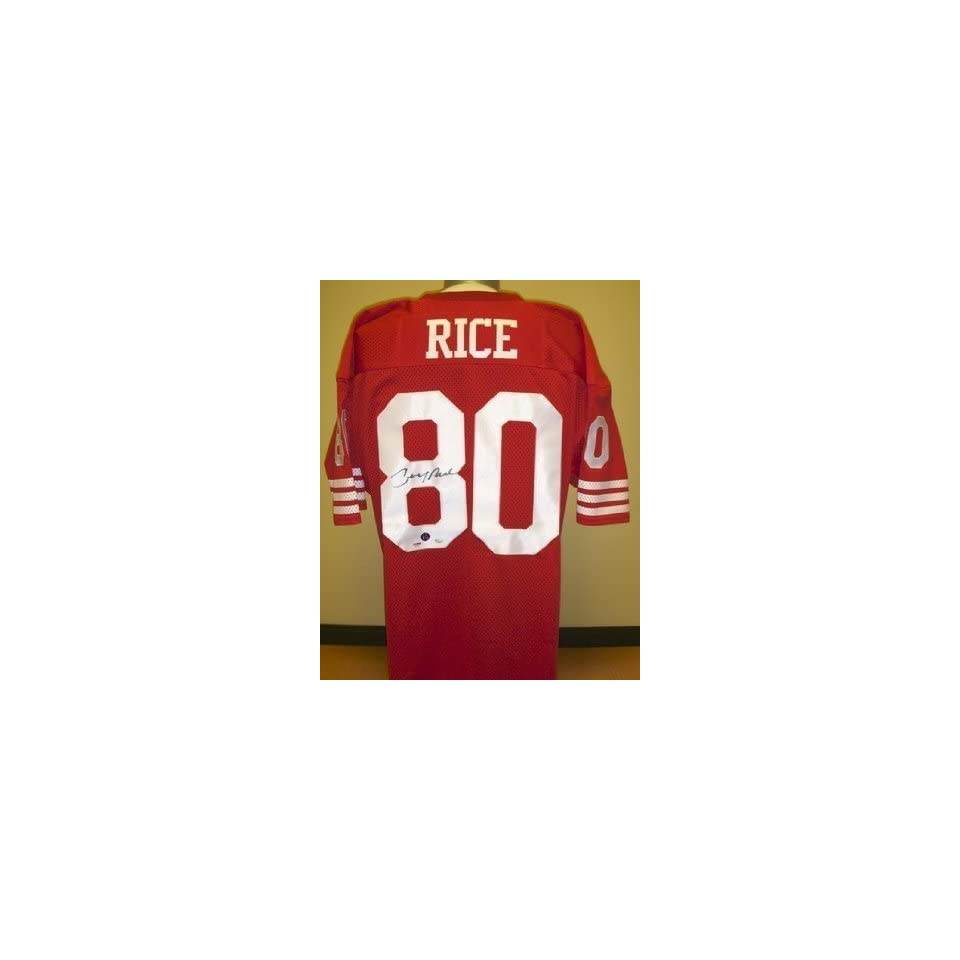 Jerry Rice Autographed Red Custom Throwback Jersey with RICE Hologram
