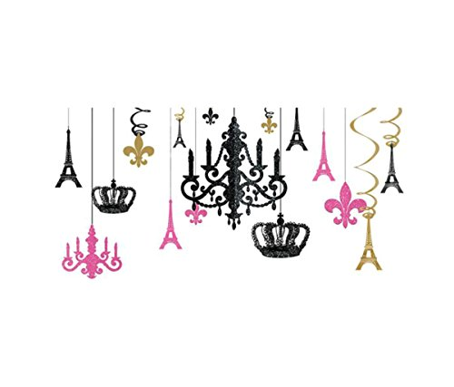 Europa Black Gold Chandelier (Mozlly Multipack - Amscan Day in Paris Glitter Chandelier Decorations - Baby Shower, Birthday - Includes Chandelier, Eiffel Towers, Crowns, Fleur de Lis - Novelty Party Decor (17pc Set) (Pack of 6))